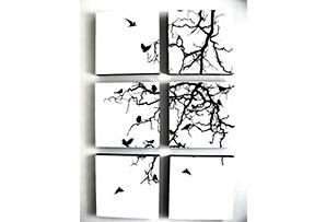 One Kings Lane - Prints to Inspire - Vertical Bird Tree Birch Panel Set