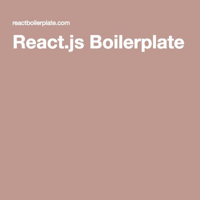 React js Boilerplate | Programming | Web development, Design