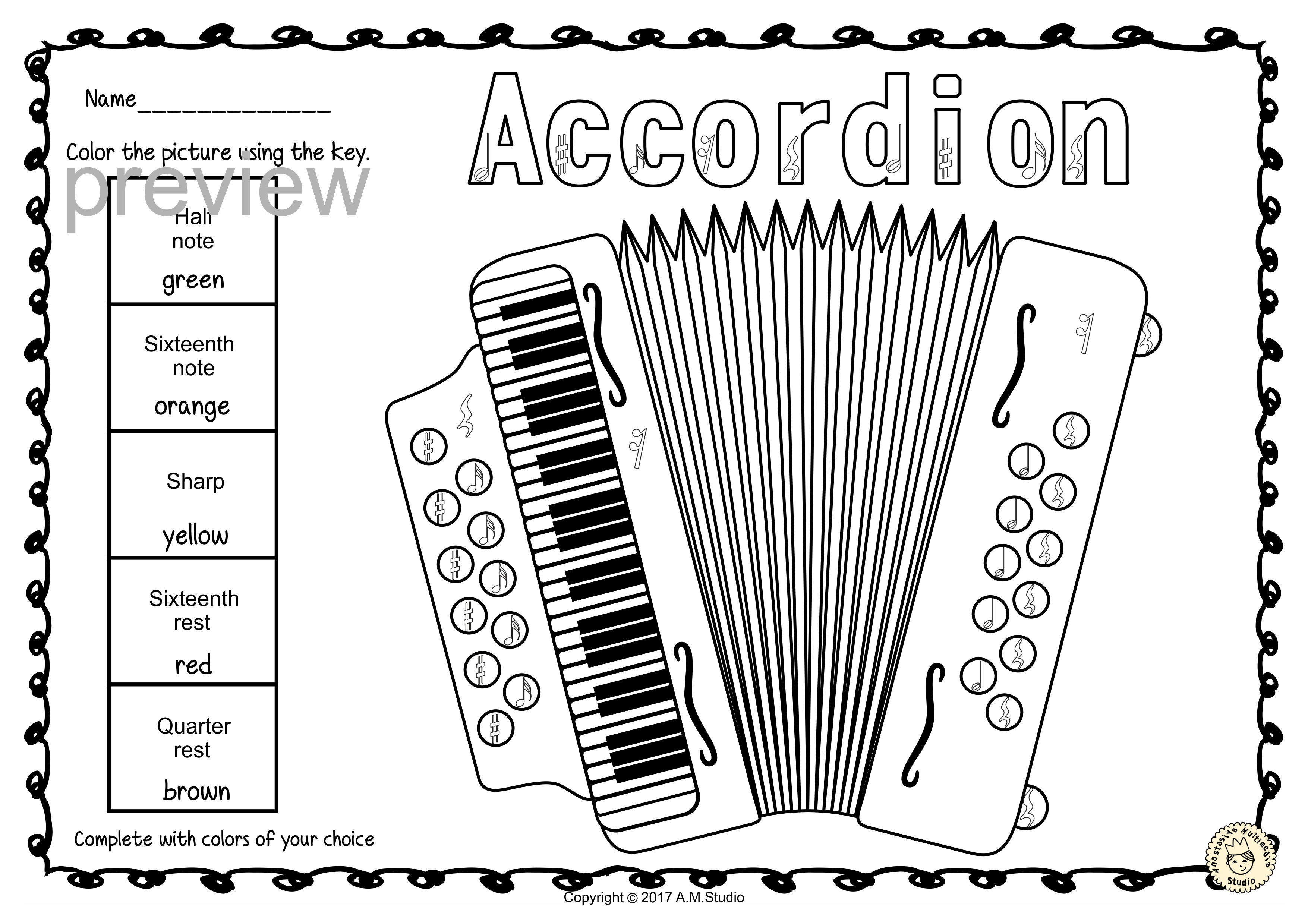 Keyboard Instruments Color By Music Pages Musical Instrument