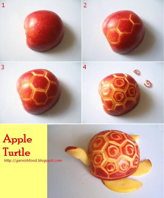 Garnishfood how to carve apple turtle fruits and