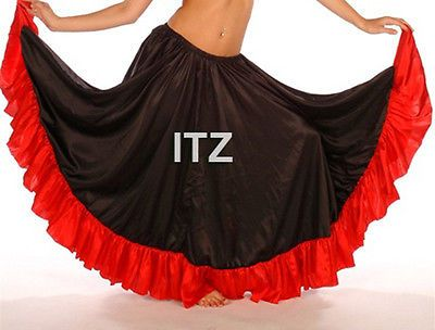 Red Chiffon Slit Ruffle Flamenco Skirt Belly Dance Gypsy Ruffle Jupe