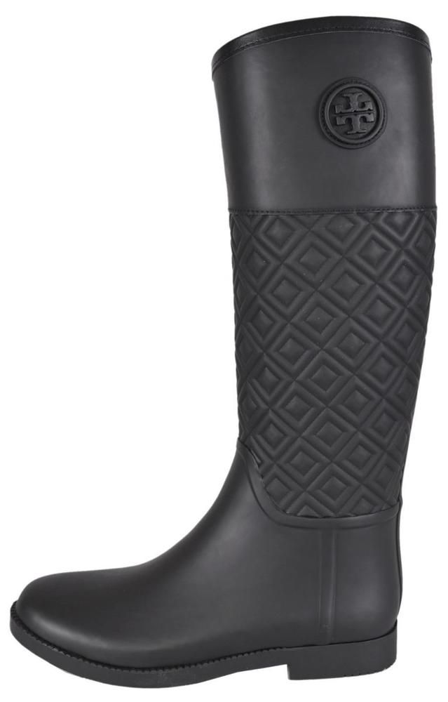 2eeda4b7171b NEW Tory Burch Black Quilted Rubber Marion T Logo Rain Boots Shoes 10   ToryBurch  Rainboots