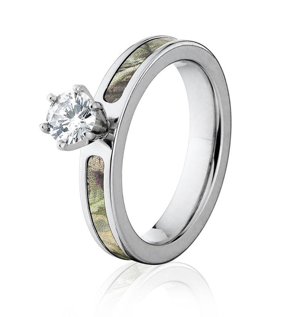 Realtree AP Green Camo Engagement Ring 4mm 1/2Ct in