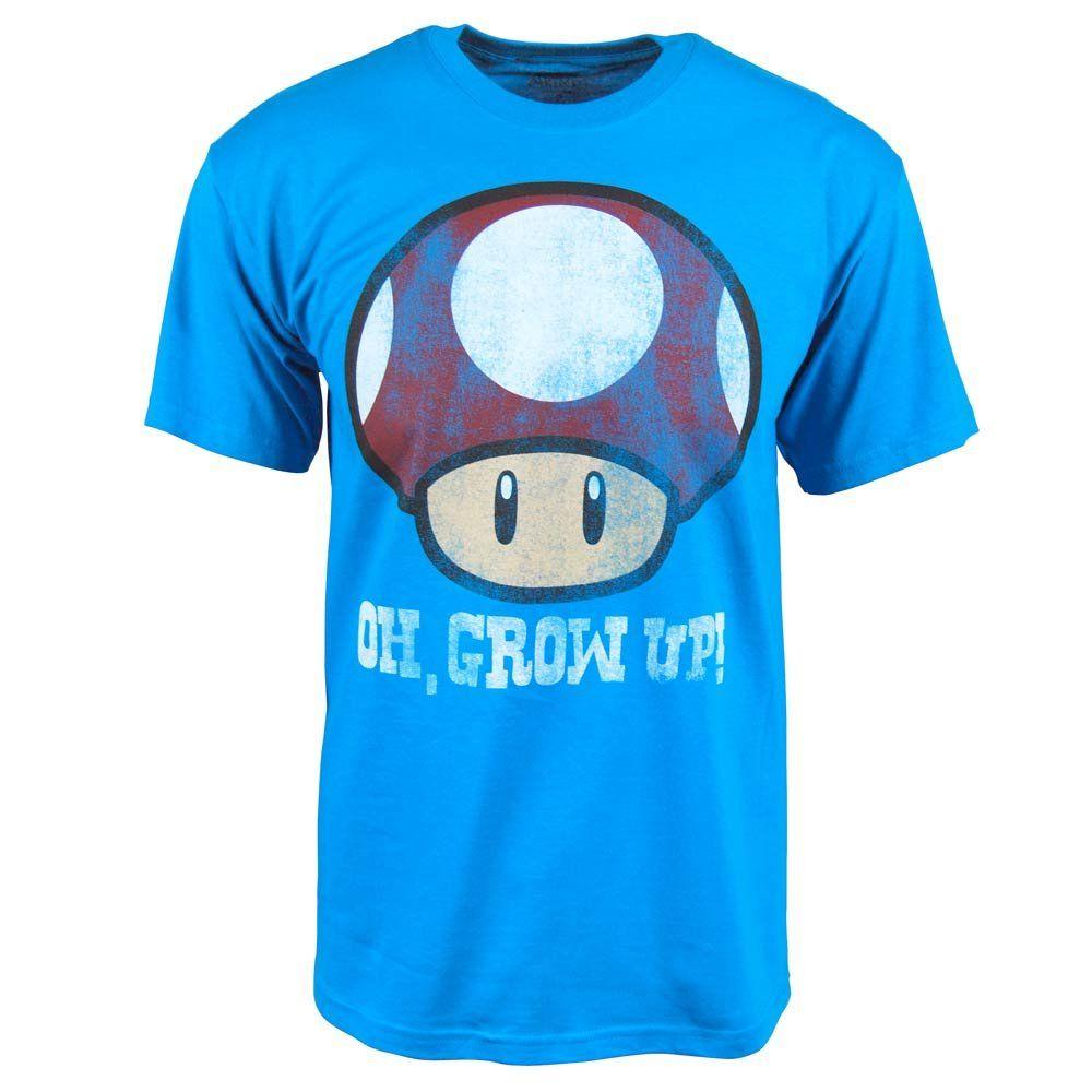 Freeze Mens Super Mario Bros Grow Up Musroom T Shirt Blue Super Mario Bros Shirts Blue Mario Bros [ 1000 x 1000 Pixel ]