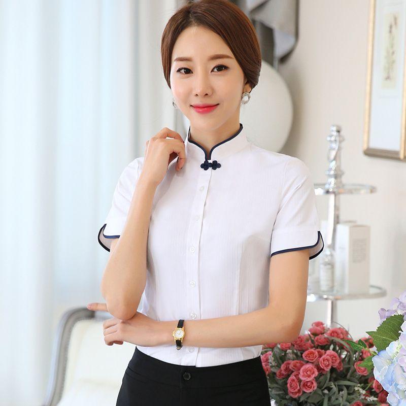 03eca6ec22e Plus Size Chinese Women cotton Blouses Shirt female Short Sleeve Mandarin  Collar White Blouse Tops lady plus size Summer Clothes