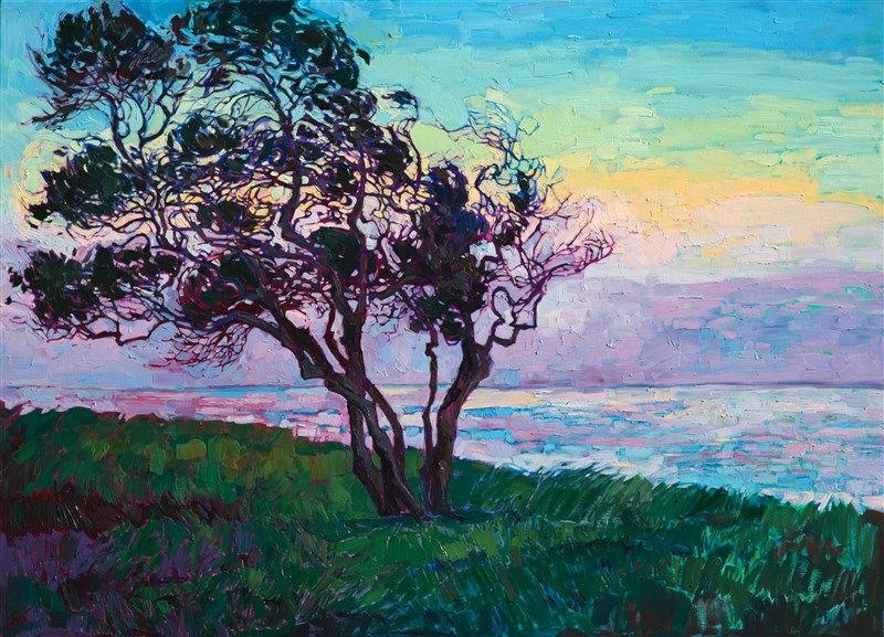 La Jolla Point Coastal Oil Painting By Local San Diego Artist Erin