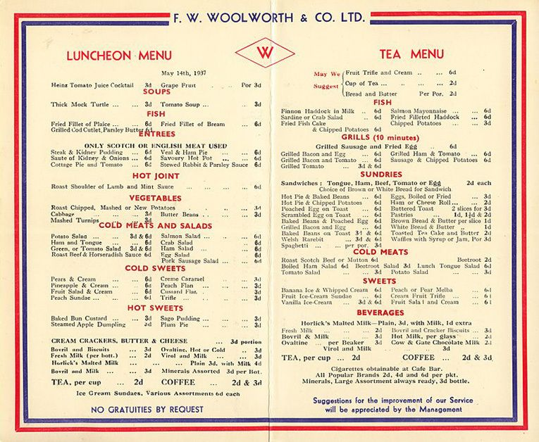 Woolworth Lunch Counter Menu    Day  At The Restaurant