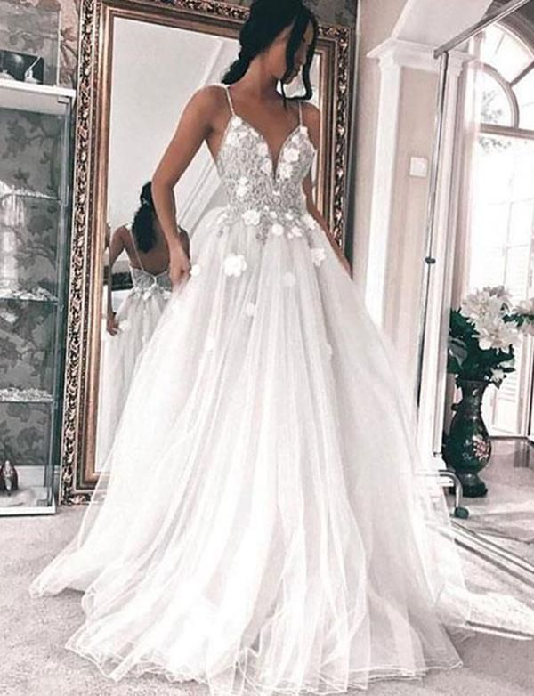 Sexy White Tulle Long Wedding Dress#sexyweddingdress #charmingweddingdress #weddingdress #wedding2k18weddingdress #whiteweddingdress #longweddingdress #dreamdates