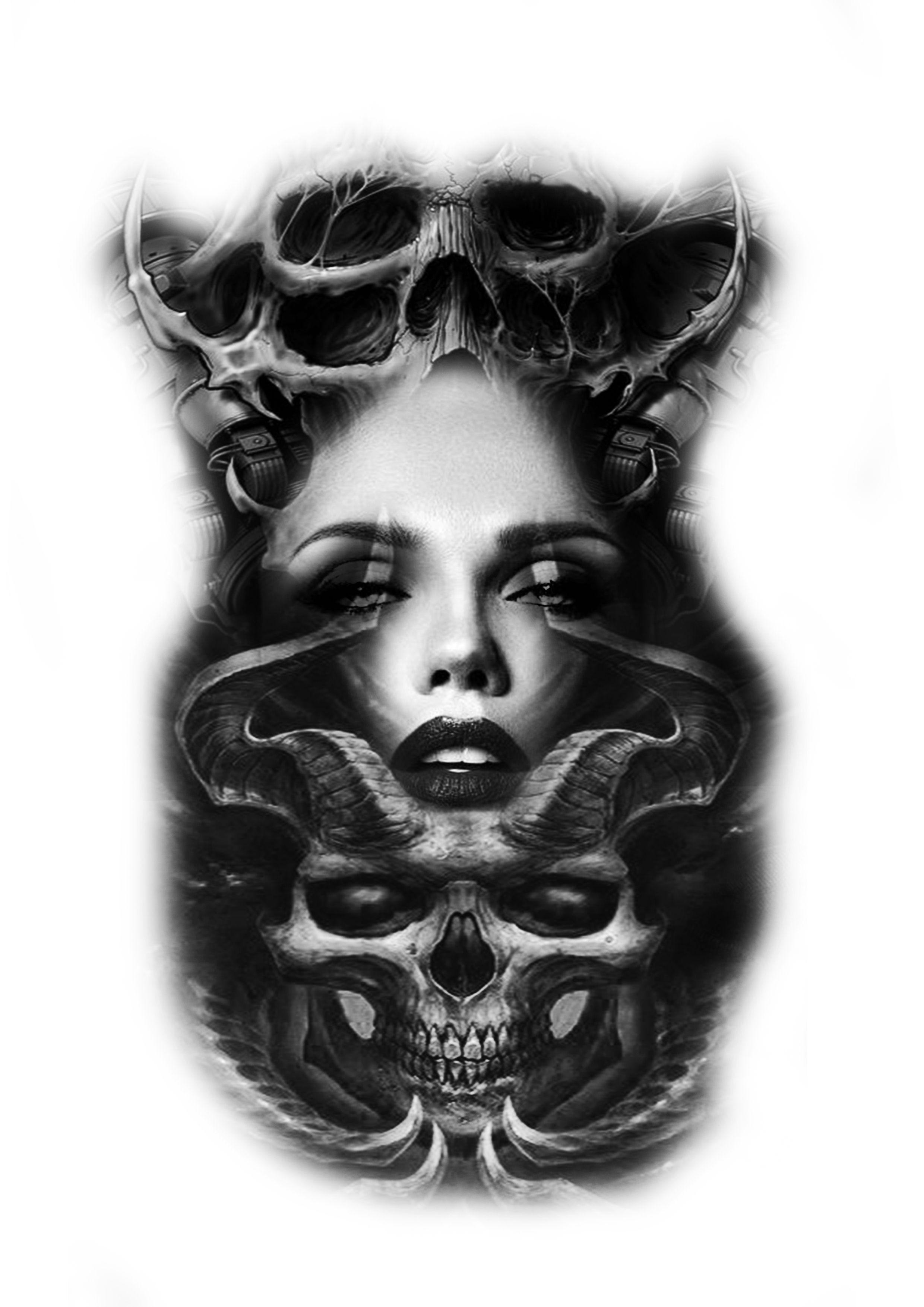 biomech schädel verwandelt mädchen gesicht tattoo design