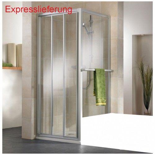 Duschtür mit Seitenwand für die Badewanne aus Kunstglas