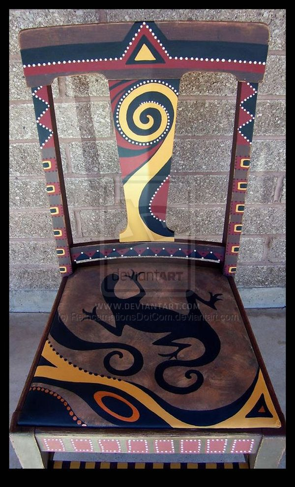 Vintage chair painted with Southwestern motif. This design is available on all types of unfinished or vintage furniture on my website, Reincarnations Painted Furniture (may be used by clubs/feature...