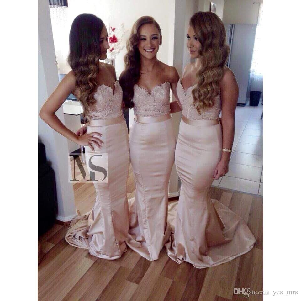 2015 gorgeous bridesmaids dresses sweetheart lace appliqued full 2015 gorgeous bridesmaids dresses sweetheart lace appliqued full length for wedding mermaid court train champagne bridesmaid ombrellifo Gallery