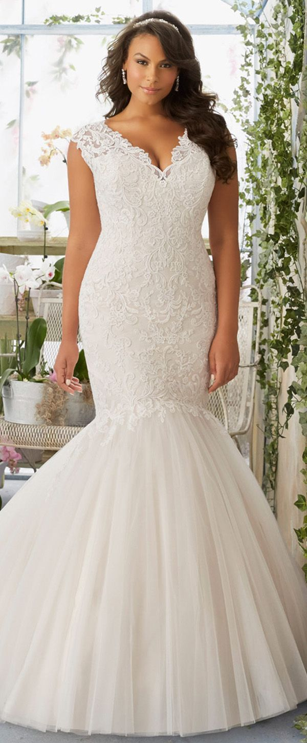 Marvelous tulle vneck neckline mermaid plus size wedding dresses