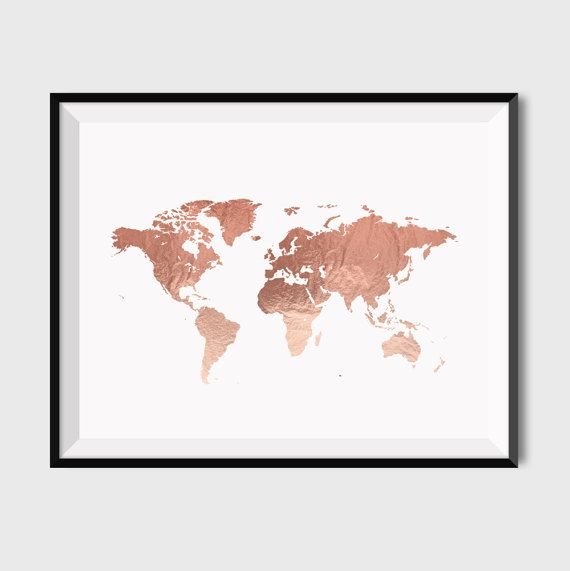 rose gold welt karte poster gro e welt karte drucken faux zimmer pinterest drucken gold. Black Bedroom Furniture Sets. Home Design Ideas