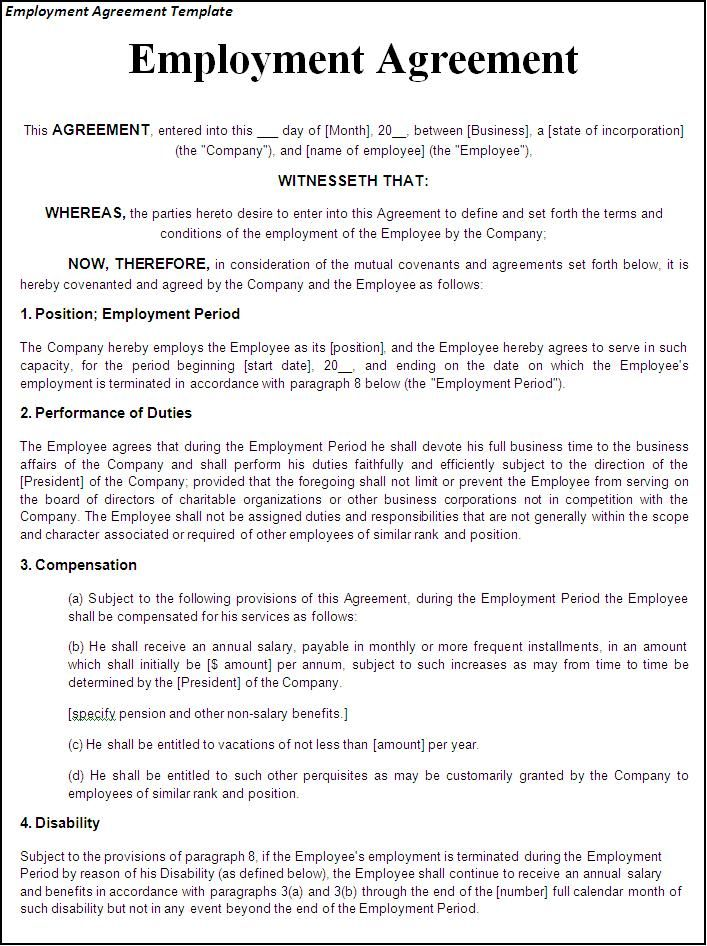 Employment Agreement USA Legal Templates Agreements – Job Contract Template