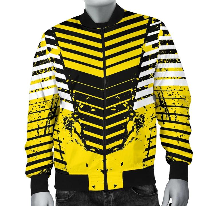 Racing Urban Style Black & Yellow Men's Bomber Jacket in