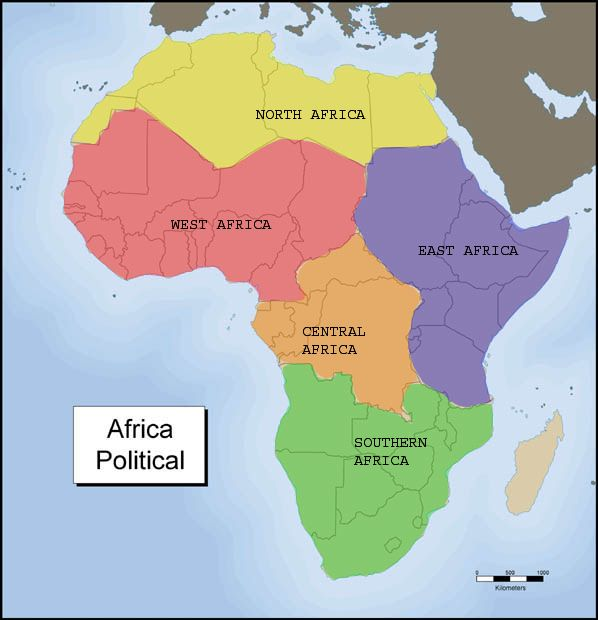 Five region of africa Map Two Five Regions of Africa coach1