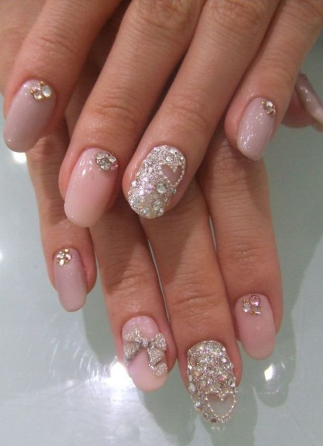 21 beautiful bridal nail art design ideas makeup bridal nail 21 beautiful bridal nail art design ideas prinsesfo Images