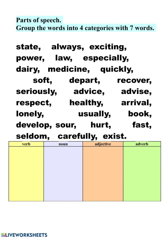 Parts Of Speech Interactive Worksheet Parts Of Speech Parts Of Speech Worksheets Nouns Verbs Adjectives [ 1413 x 1000 Pixel ]