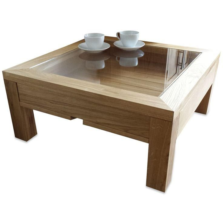 glass top coffee table with display