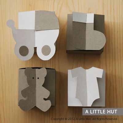 baby boxes for favors and parties - bootie, pram, crib, bear, onesie