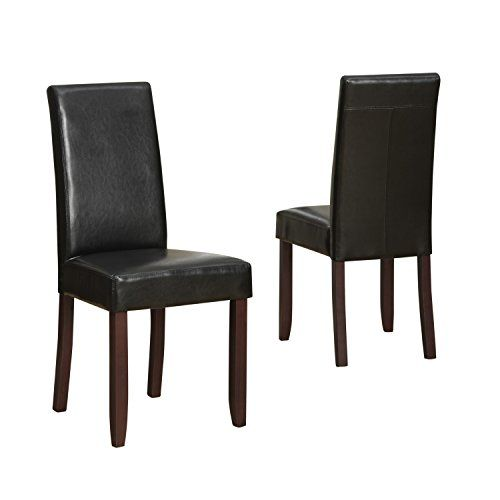Acadian Faux Leather Parson Dining Chairs - Midnight Black (Set of - Simpli Home  sc 1 st  Pinterest & Simpli Home Acadian Parson Dining Chair Midnight Black (Set of 2 ...
