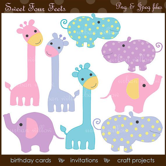 Animal Clipart, Pastel Animals, Pink Elephant Clipart ...