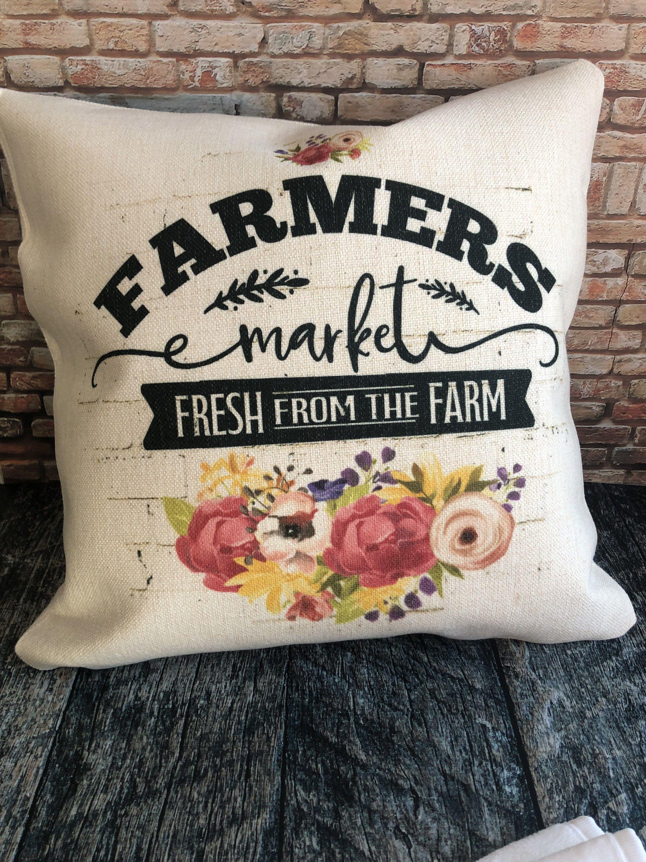 Farmers market pillow farmhouse decor porch pillows