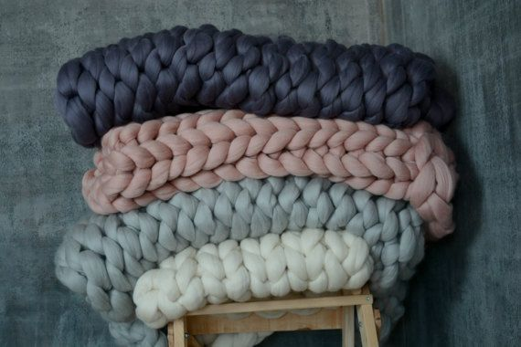 Chunky knit blanket. Super chunky blanket. Giant knitted merino wool blanket. Cozy throw