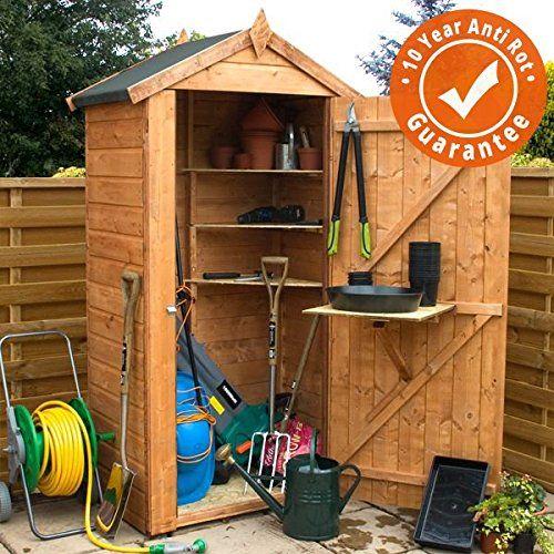 3x2 compact wooden grande garden storage shed single door windowless felt included