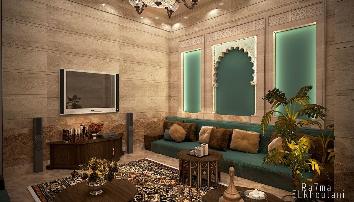 Interior Design Moroccan Sitting Room In Saudi Arabia Auto Desk 3d Max 2014 Adobe Photo