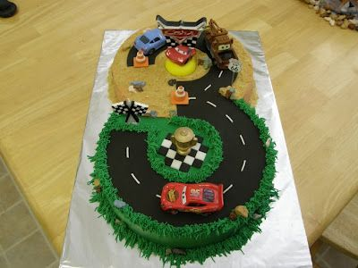 """""""Cars"""" cake for a 3 year old's birthday."""