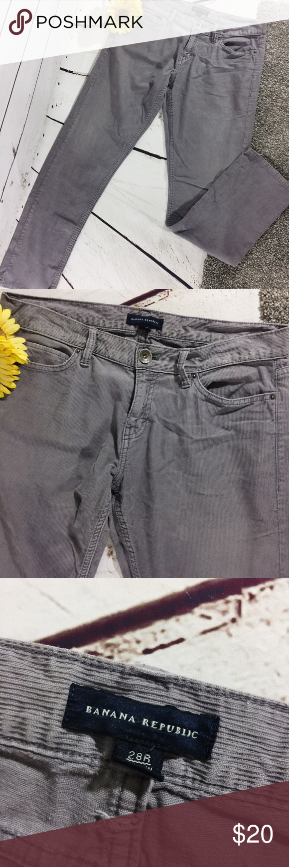 """{BANANA REPUBLIC} Grey Corduroy Straight Leg Pants Grey corduroy Straight Leg Pants by Banana Republic .  Wear shown on waistband but otherwise good preowned condition .  All measurements taken flat .  Size 28 regular measures 30"""" Inseam , 8.5"""" rise , 16"""" waistband .  Q-6 Banana Republic Pants Straight Leg"""