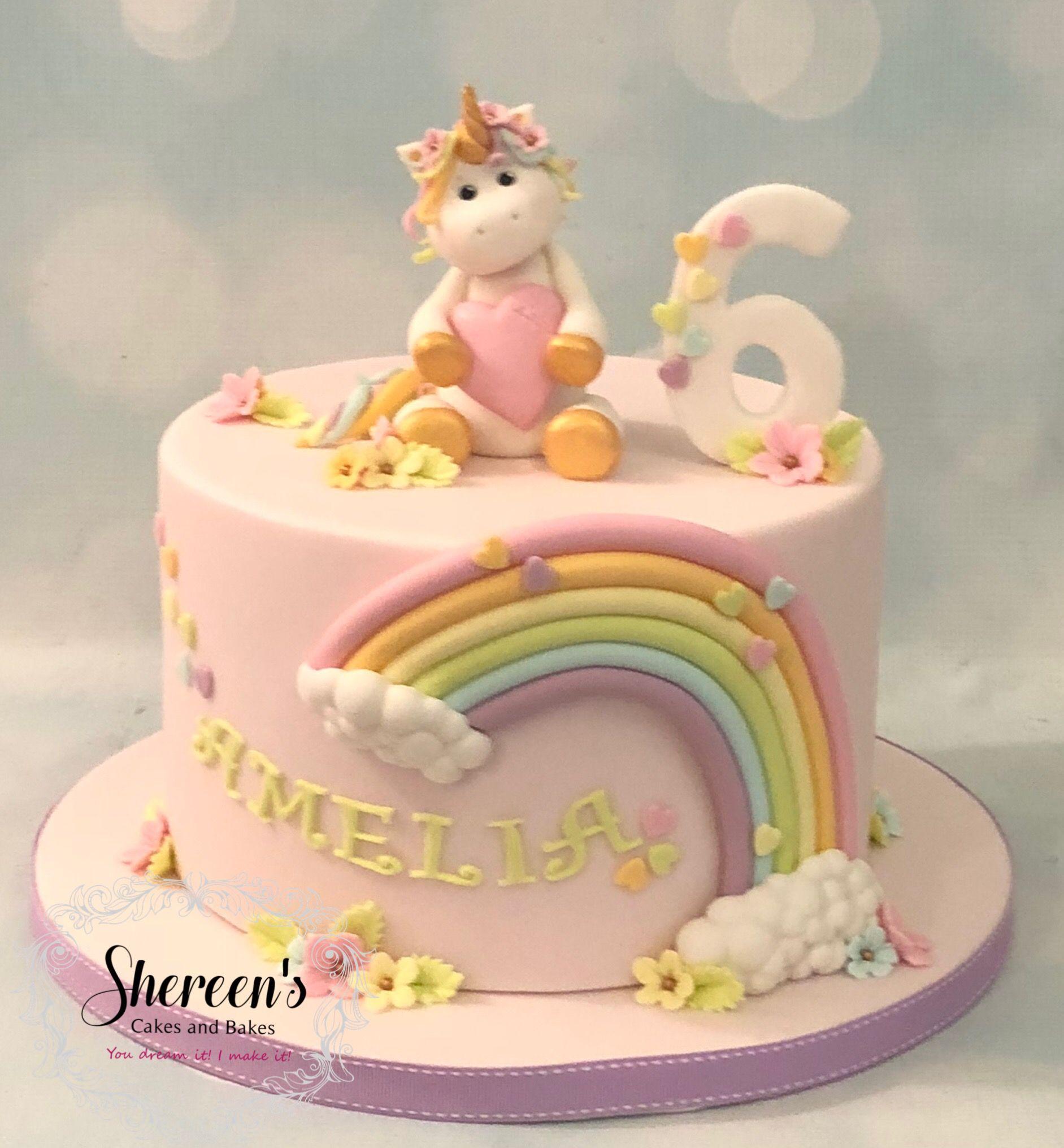 Rainbow Pastel Unicorn Birthday Cake Shereenscakesandbakescouk