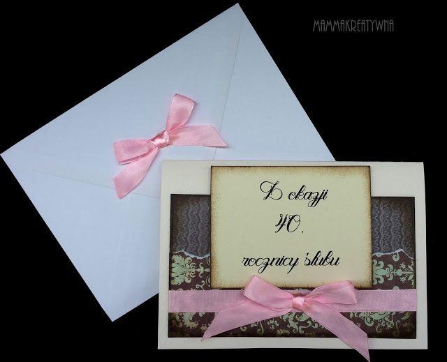 Recznie Robiona Kartka Z Zyczeniami Z Okazji Rocznicy Slubu Handmade Card For Wedding Anniversary Scrapbooking Frame Decor Shibu
