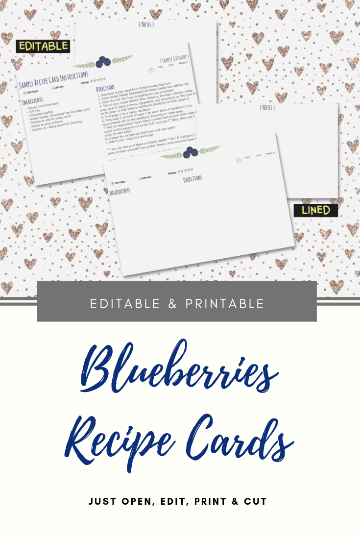 Editable Blueberries Printable Recipe Cards 4 X 6 Etsy Printable Recipe Cards Recipe Cards Recipe Cards Template