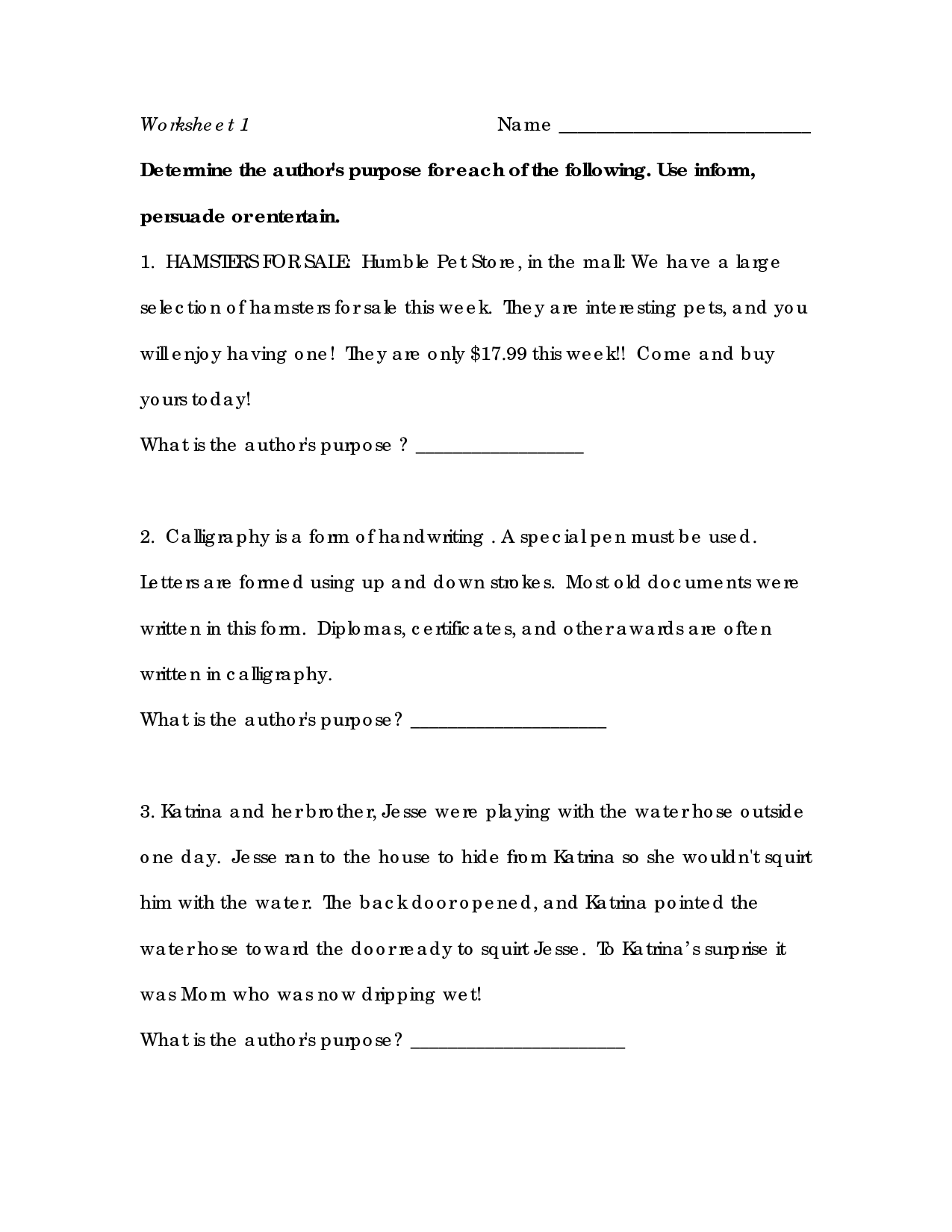 Fine Worksheets On Author S Purpose That You Must Know