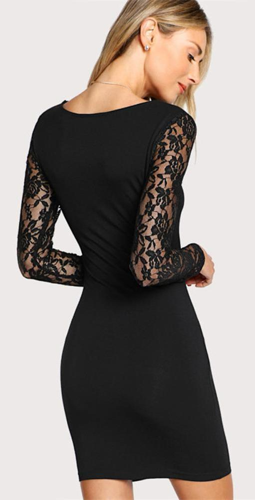6d769d5ea3a Classy Evening Dresses Outfit Ideas for Women for Cocktail Party -  Beautiful Elegant Tight Fitted Black Mini Dress with Floral Lace Sleeves -  Vestidos ...