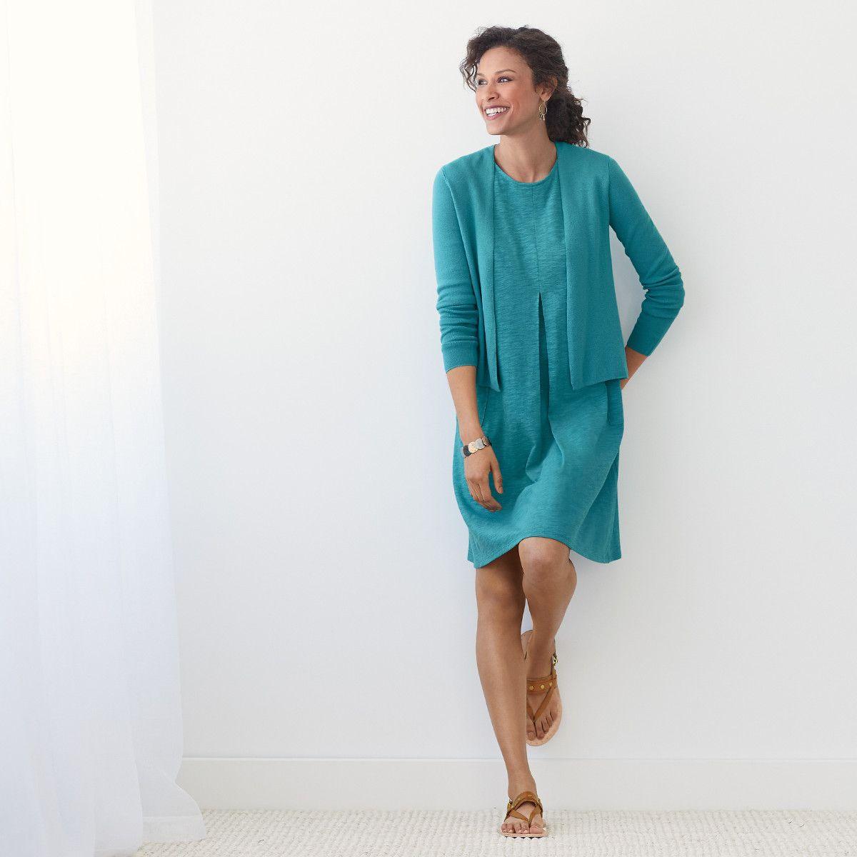 Light Fresh For Summer Featuring J Jill S Sleeveless Center Pleat Knit Dress Clothes For Women Fashion Summer Fashion [ 1200 x 1200 Pixel ]