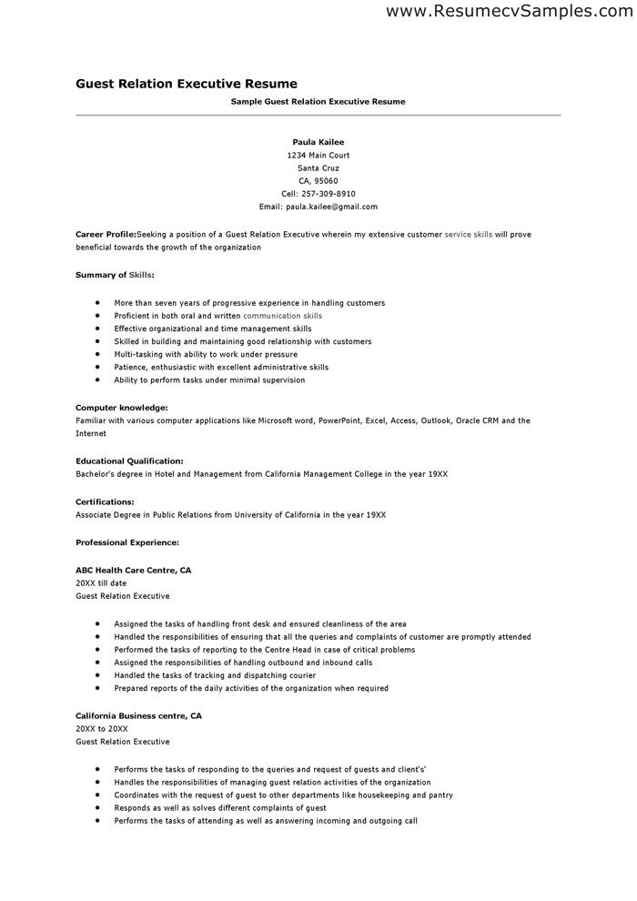 Resumen Samples Guest Relation Resume Sample  Httpresumesdesignguest .