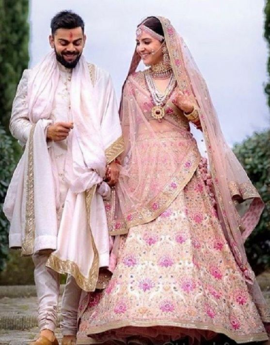 c5f7eac3eb Virat Anushka wedding dress by sabya...   Celebrities   Indian ...