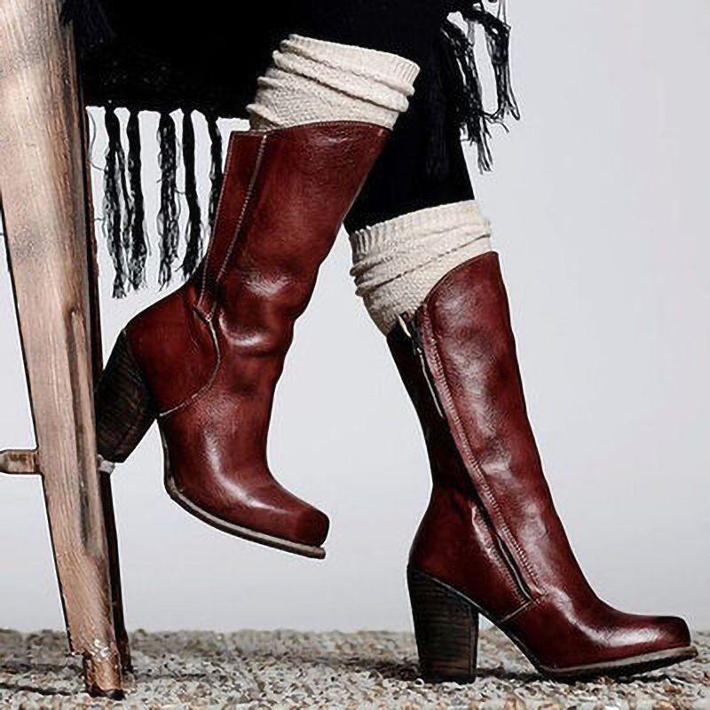 WOMENS LADIES BUCKLE LOW MID HIGH BLOCK HEEL ZIP WINTER CALF KNEE BOOTS SIZE