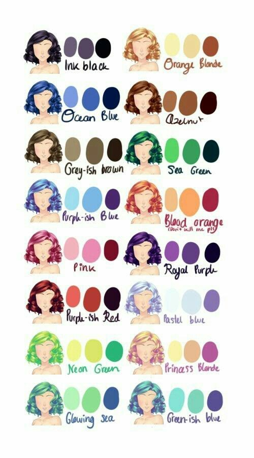 hair colors drawing reference