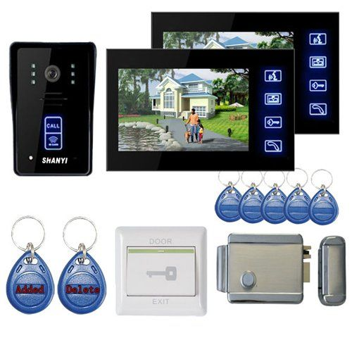 Lightinthebox 7 Color Hands Free Video Door Phone Door Lock System With 2 Monitors Rfid Keyfobs Electronic Controlling Lock Outdoor Camera With Images Video Door Phone Doorbell Intercom Door Lock System