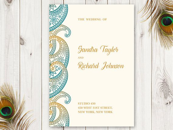 Printable Wedding Program Template Paisley Teal And Gold Diy