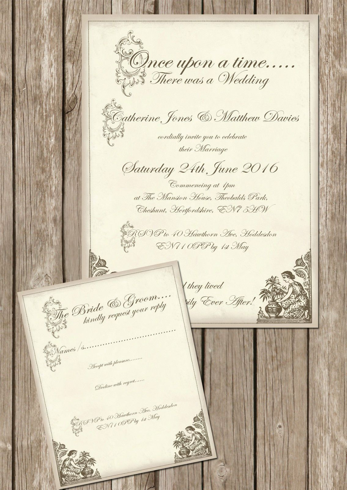 Personalised Shabby Chic Vintage Fairy Tale Wedding Invitations ...