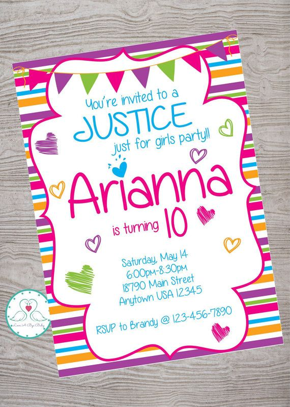 Justice inspired just for girls birthday party invitation ...
