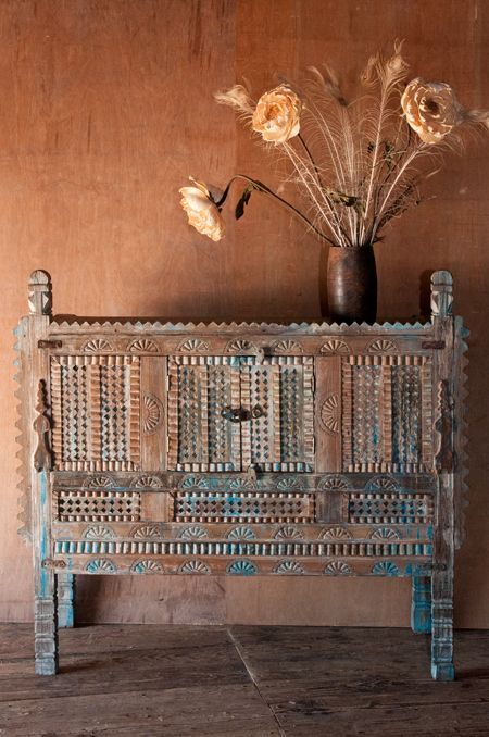 Rustic Blue Indian Damchiya Cabinet - great for sideboards, entryway consoles, or mini-bars.  http://shopnectar.com/product-rustic-blue-indian-damchiya-cabinet