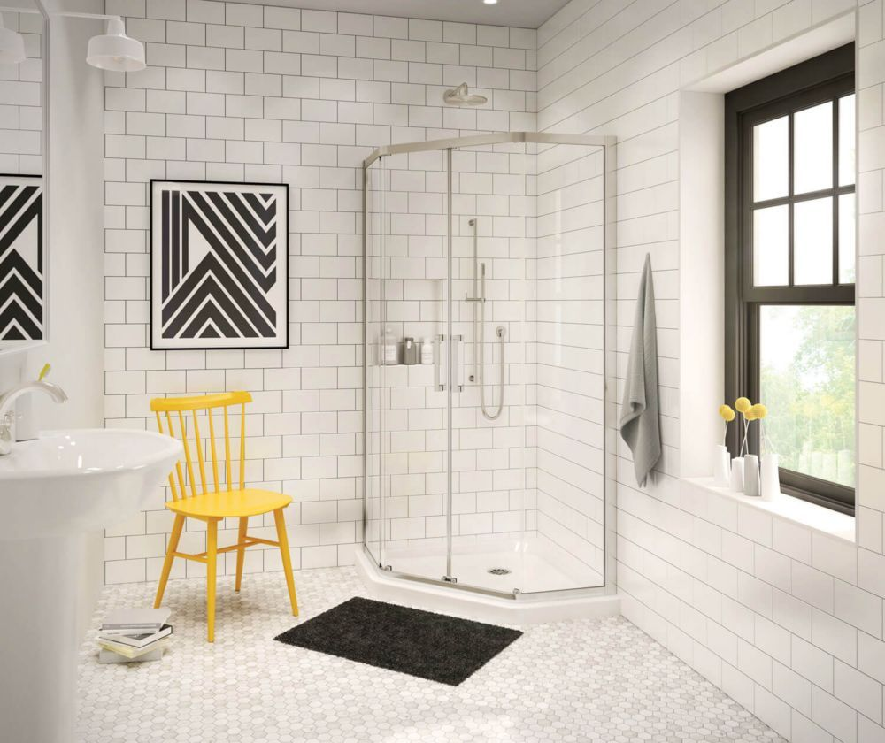 Radia 38 Inch X 38 Inch X 72 Inch Framed Neo Angle Sliding Shower Door In Brushed Nickel Clear Sliding Shower Door Shower Doors Frameless Sliding Shower Doors
