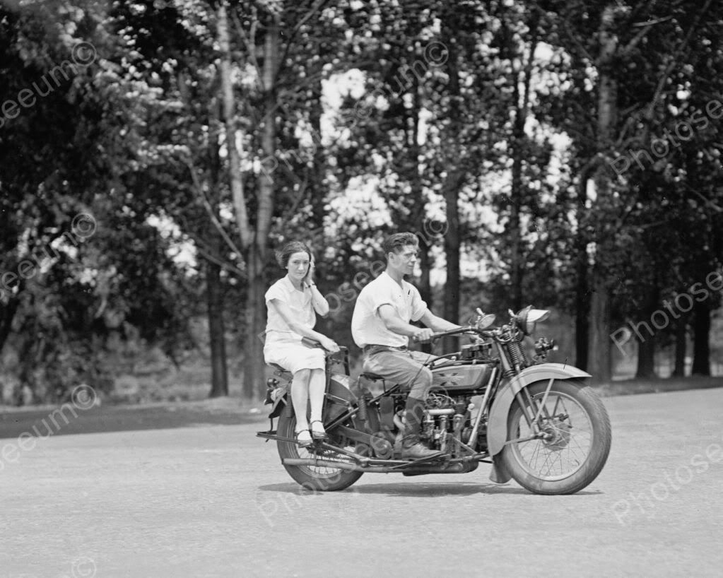 Young Couple Riding Excelsior Motorcycle 1920 Vintage 8x10 Reprint ...